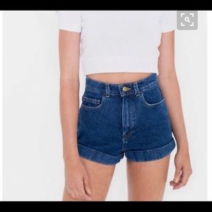 American apparel super high waisted jean short